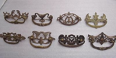"""Lot Of 8 Different  Fancy, Antique Cast 3""""  Drawer Pulls, Salvaged Hardware"""