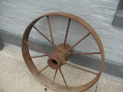 Large Steel Farm Tractor Wheel Rim steam thresher Antique vintage spoked
