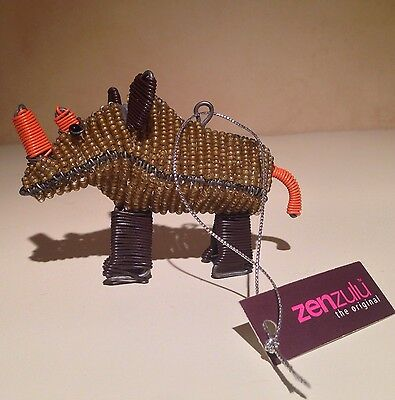ZenZulu Hand Beaded Rhinoceros Ornament South Africa's KwaZulu-Natal province