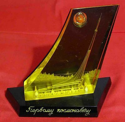 Vintage old Russian USSR space kosmos Rocket monument souvenir Astranaut Gagarin