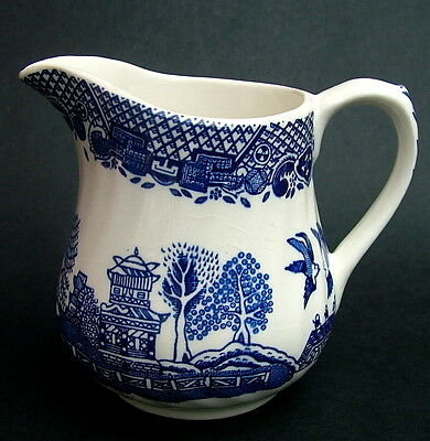 TWO Vintage 1970's Barratts Blue Willow Pattern Tea Size Milk Cream Jug 9cmh VGC