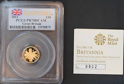 2011 £10 Gold Pounds Great Britain PCGS PF70DCAM 1/10 oz First Strike DEEP CAMEO