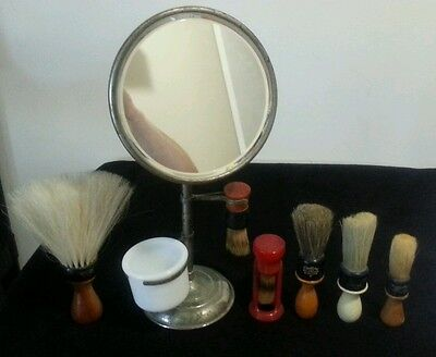 Vintage shaving  mirror and Rubberset lot with neck duster Acme bakelite century