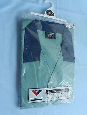 "mens 70s VINTAGE pyjamas British NOS deadstock DAVID JOHNS 50/52"" blue & navy"