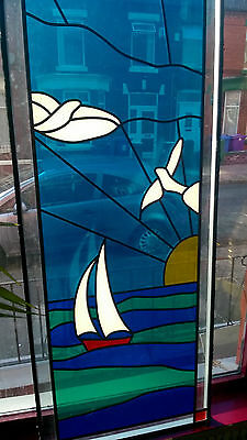 Stained glass window, blue bright, beautiful