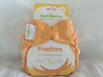 NEW Bumgenius Freetime Clementine Orange AIO One Size All in One Cloth Diaper