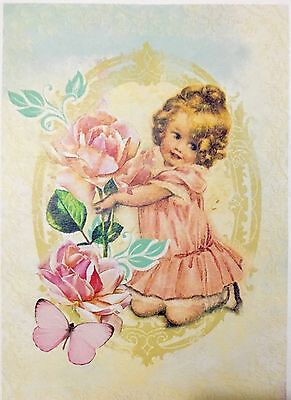 Vintage Little Girl Design Decoupage Craft Paper - 4 Designs On 1 Paper