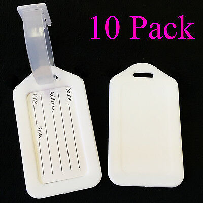Pack of 10 Travel Luggage Bag Tag Plastic Suitcase Baggage Office Label, White