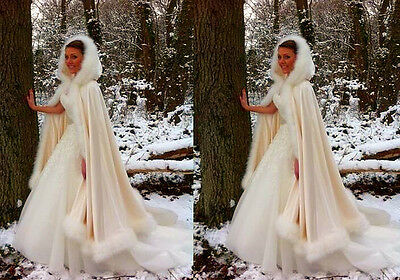 2017 Bridal Winter Wedding Cloak Cape Hooded with Fur Trim Long Bridal