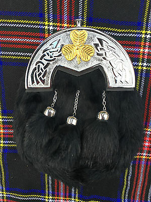 Men's Full Dress Sporran Black Rabbit Fur Celtic Cantle/Irish shamrook Badge