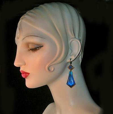 ~ Enormous Vintage Theatrical Sapphire Faceted Lucite Teardrop Earrings!~~