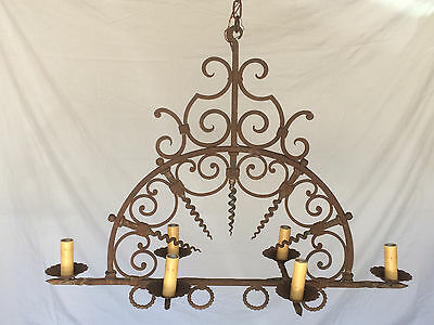 Antique Chandelier Rustic Gothic Medieval Castle French? 6-Arm/Light Rusty Iron
