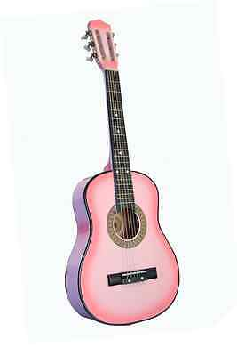 """Kid's 23"""" Wood Toy Guitar Pink with Pick"""