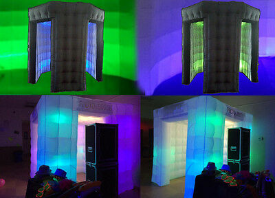 Inflatable Photo Booth Enclosure SALE 2door 8bulb Cube+ 2door LED Octagon w/Roof