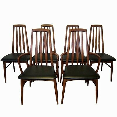 Stunning Set Of 6 Teak Danish 'Eva' Dining Chairs By Neils Koefoed For Hornslet