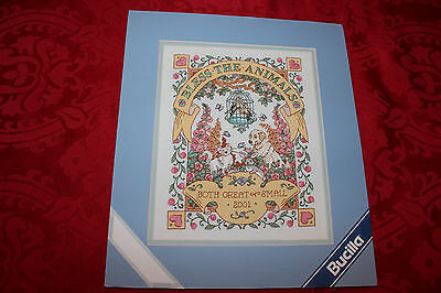 Bucilla: BLESS THE ANIMALS  Crewel Embroidery  Finished on Mat # 42532
