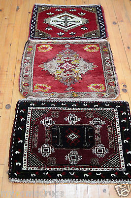 Beautiful 1'7''x1'6'' c1900-1930s Two Small Antique Cushion Cover Face Rug