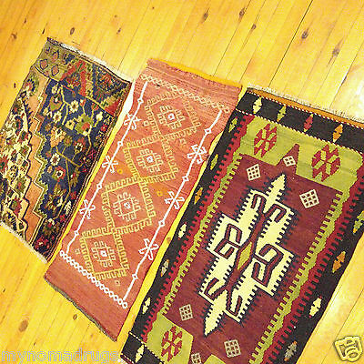 Antique Ca1920-1930s Natural Dyes 1'8''x3'2'' Wool Pile 3 Cushion Rugs