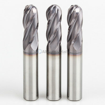"3 Pcs 1/8"" 4 Flute Regular Length Ball End Carbide End Mill TiAlN Coated"