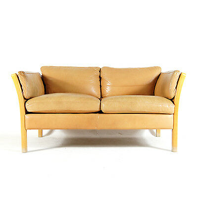 Retro Vintage Danish Stouby Design 2 Seat Seater Beech & Leather Sofa 60s 70s