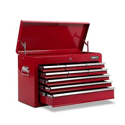 New Lockable Heavy Duty 9 Multi-Size Drawers Garage TOOL BOX Toolbox Chest Red