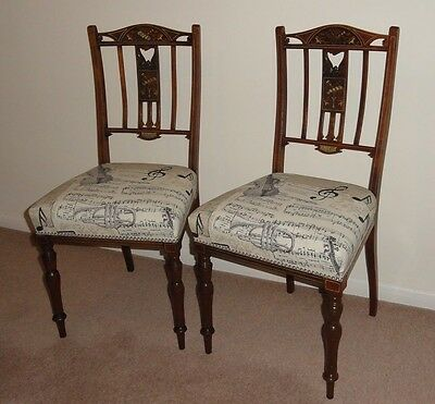 Edwardian Mahogany Salon Chairs with 'Musical Themed' Inlay.