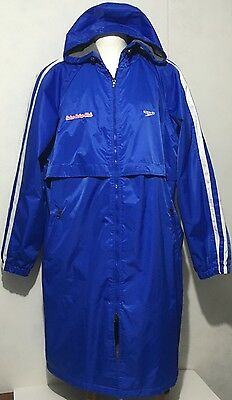 Speedo Swim Coat Team Parka Gator Swim Club Blue Nylon / Fleece Lined Hood Sz Xl