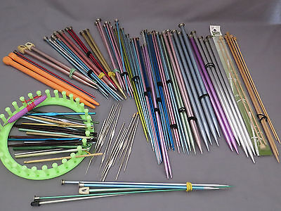 Lot of Vintage and New Knitting Needles Crochet Hooks & Round Loom