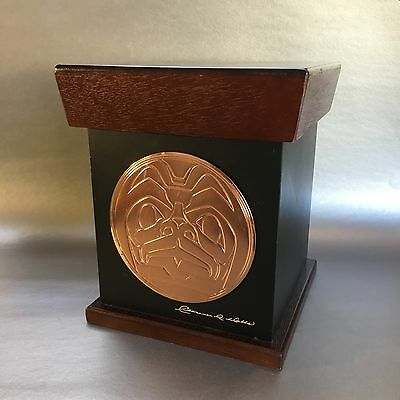 Native Haida Large Embossed Copper Plate Trinket Box Signed Clarence Wells