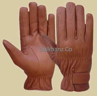 Horse Riding Gloves LADIES All Leather Tan & Brown Premium Quality New