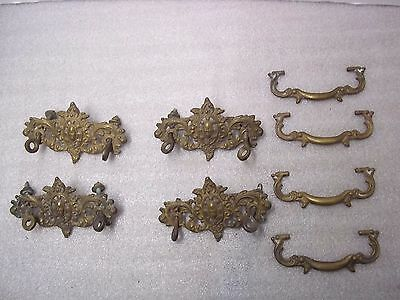 Lot Of 4 Vintage Cast Brass Pulls With Backs, Dresser, Drawer, Furniture