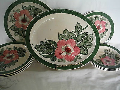 Royal Tudor Ware Hibiscus Pattern  11 Pieces