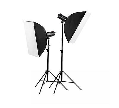 1200W Photography Studio Flash Kit 2 x 600w LED Strobe Lighting set fan MT600 EU