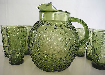 Anchor Hocking Avocado Green Milano Ball Water Pitcher And 6 Glasses