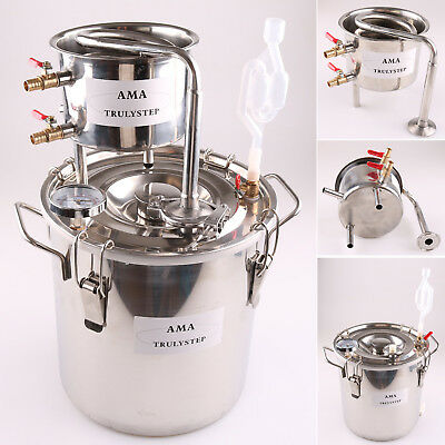 5GAL/20L Stainless Steel Still Home Moonshine Distiller Oil Water Brewing Kit