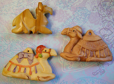 Lot of 3 Vintage CAMELS, Two Christmas Ornaments and Carved Agate Gemstone Camel