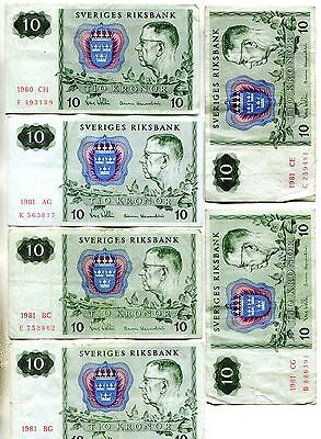 1980-3 Sweden 10 Kronor Notes - All different Blocks - 17 Pcs.