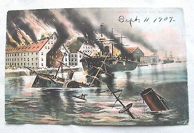 Original 1907 Destruction of the Merimac Color Illustration Postcard. Civil War,