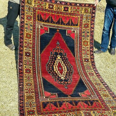 """Authentic 4'3""""×8'' Antique 1900-1930s Wool Pile Tribal Rug Turkey"""