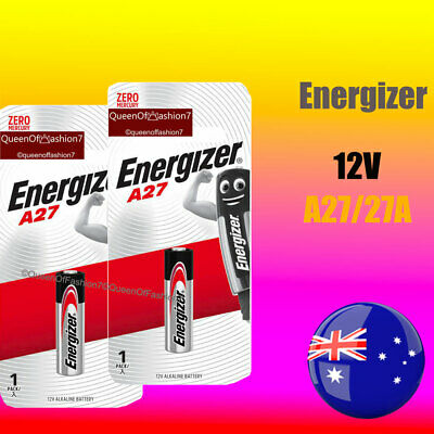 2 x A27 Genuine Energizer 0%Hg 12V 27A Battery Batteries Garage Car Remote Alarm