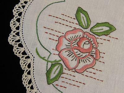 Vintage Doily Pink Rose & Leaves Hand Embroidered Linen