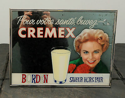 1940's Borden's Dairy Cremex RARE French Canadian Milk Advertising Mirror/Sign