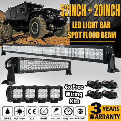 "52"" 500W + 22"" 200W  + 4x 4"" 30W Led Work Light Bar Spot&Flood Combo Offroad 4WD"