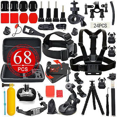 58PCS Pack Accessories Case Head Chest Monopod Surf Mount for GoPro Hero 5 4 3+