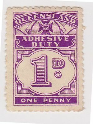 (AA-451) 1950 QLD 1d violet KGVI duty stamp MUH