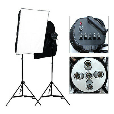 Photo Studio Continuous Softbox Bulb Lighting Video Soft Box Light Stand Kit New