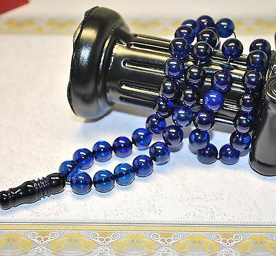 Islam Prayer Beads Misbaha Blue Dominican Amber 45 Round 8 mm Diameter Balls