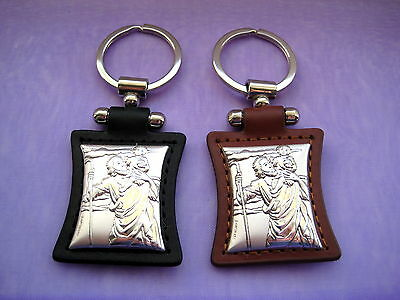 YOU PICK Saint Christopher Sterling Silver 925 & Leather Keyring Gift Keychain