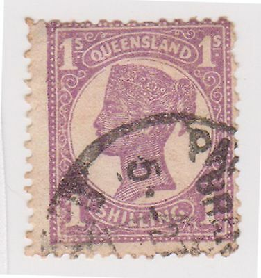 (AA-431) 1897 QLD 1/- mauve side face (F)