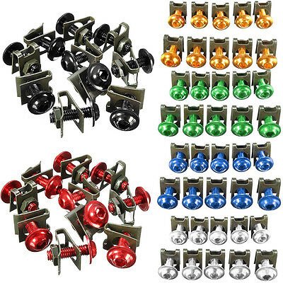 10pcs Aluminum Motorcycle 6mm M6 Fairing Bolts Fastener Clips Screw Spring Nuts